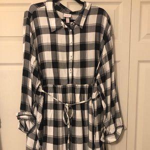 Maternity Plus Size Long Sleeve Plaid Peplum Shirt